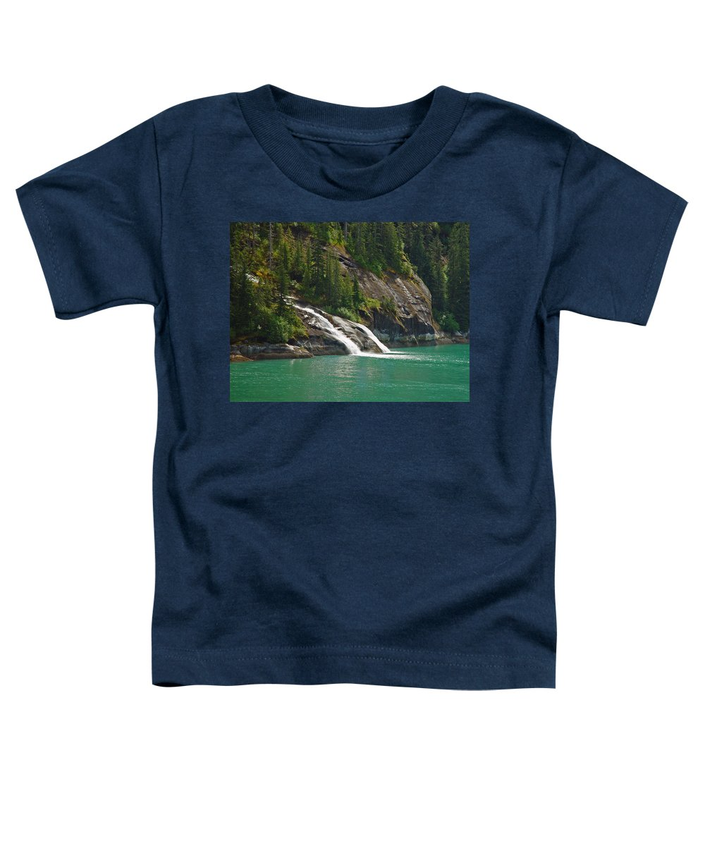 Waterfall Toddler T-Shirt featuring the photograph Alaska Tracy Arm by Heather Coen