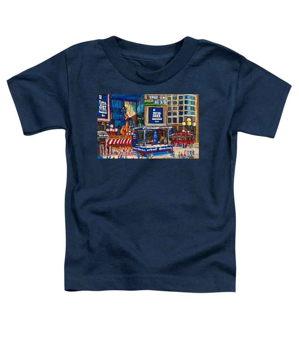 Montreal Toddler T-Shirt featuring the painting All That Jazz by Carole Spandau