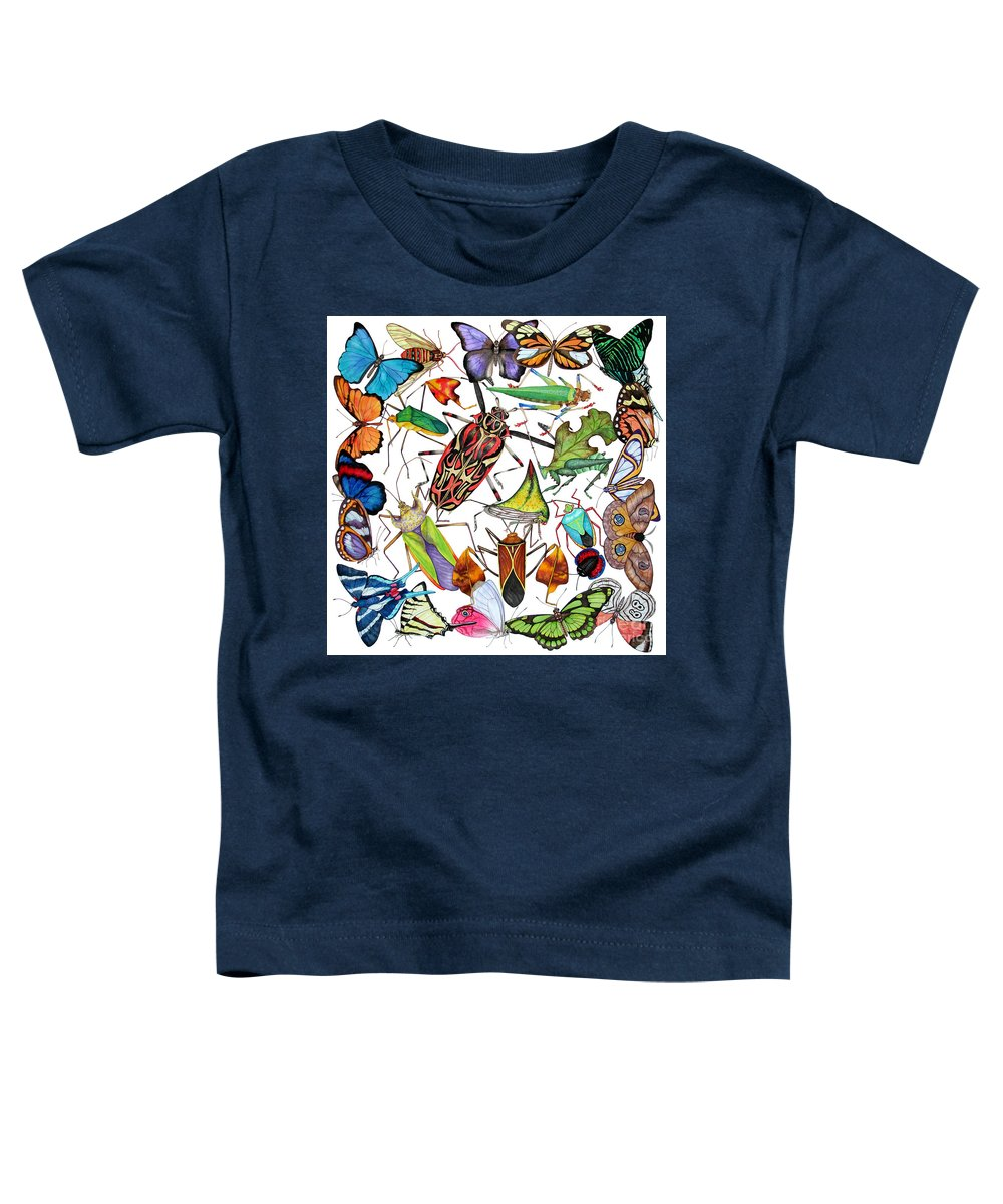 Insects Toddler T-Shirt featuring the painting Amazon Insects by Lucy Arnold