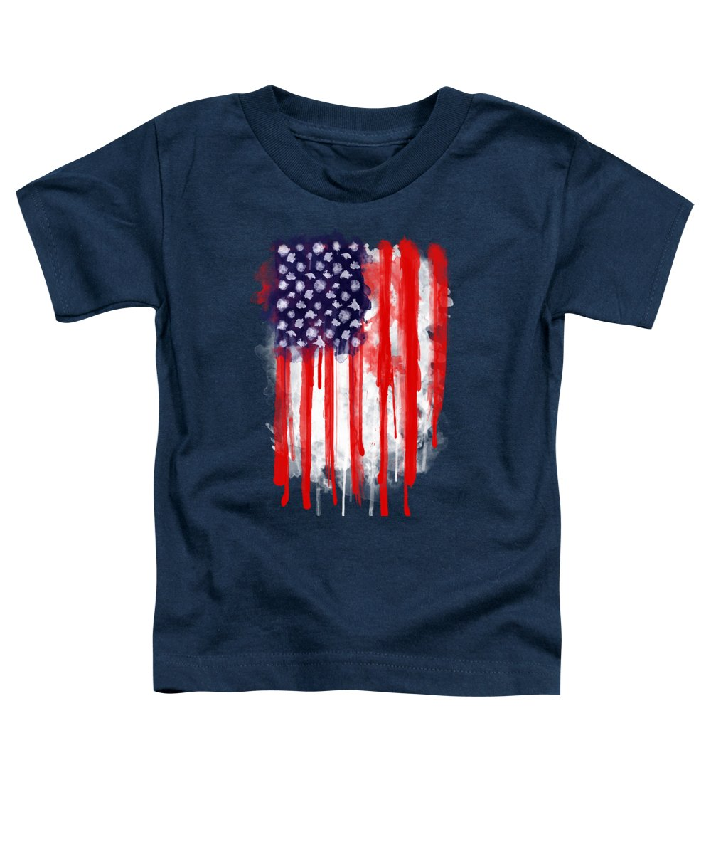 America Toddler T-Shirt featuring the painting American Spatter Flag by Nicklas Gustafsson