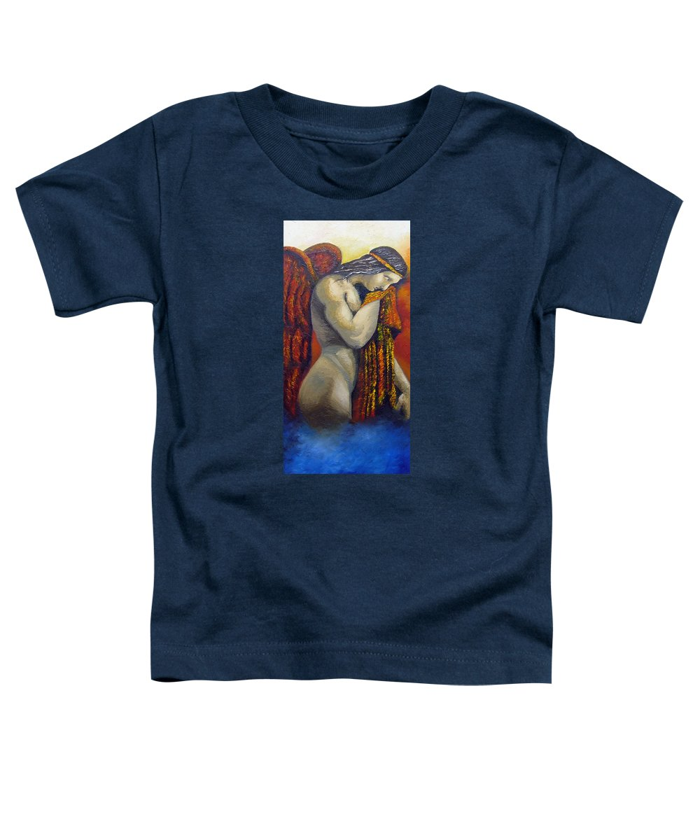 Angel Toddler T-Shirt featuring the painting Angel Of Love by Elizabeth Lisy Figueroa