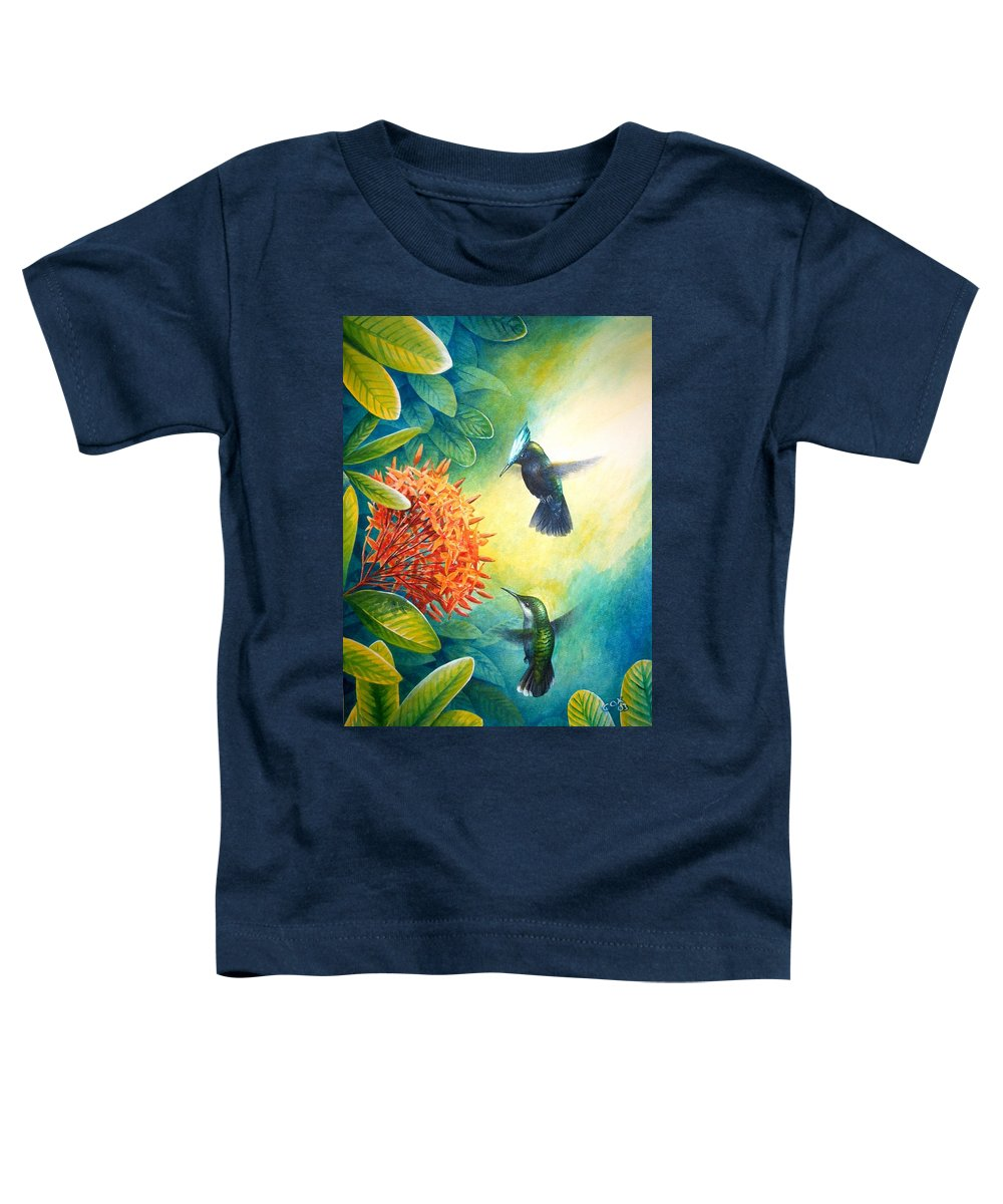 Chris Cox Toddler T-Shirt featuring the painting Antillean Crested Hummingbirds And Ixora by Christopher Cox