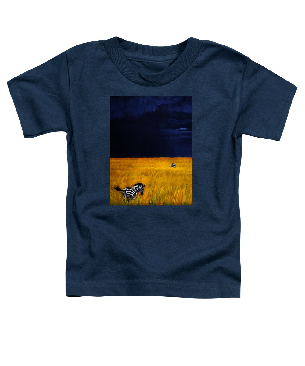 African Landscape Zebra Storm Clouds Edith Peterson Watson Scenery Nature Animals Wildlife Toddler T-Shirt featuring the painting Approaching Storm by Edith Peterson-Watson