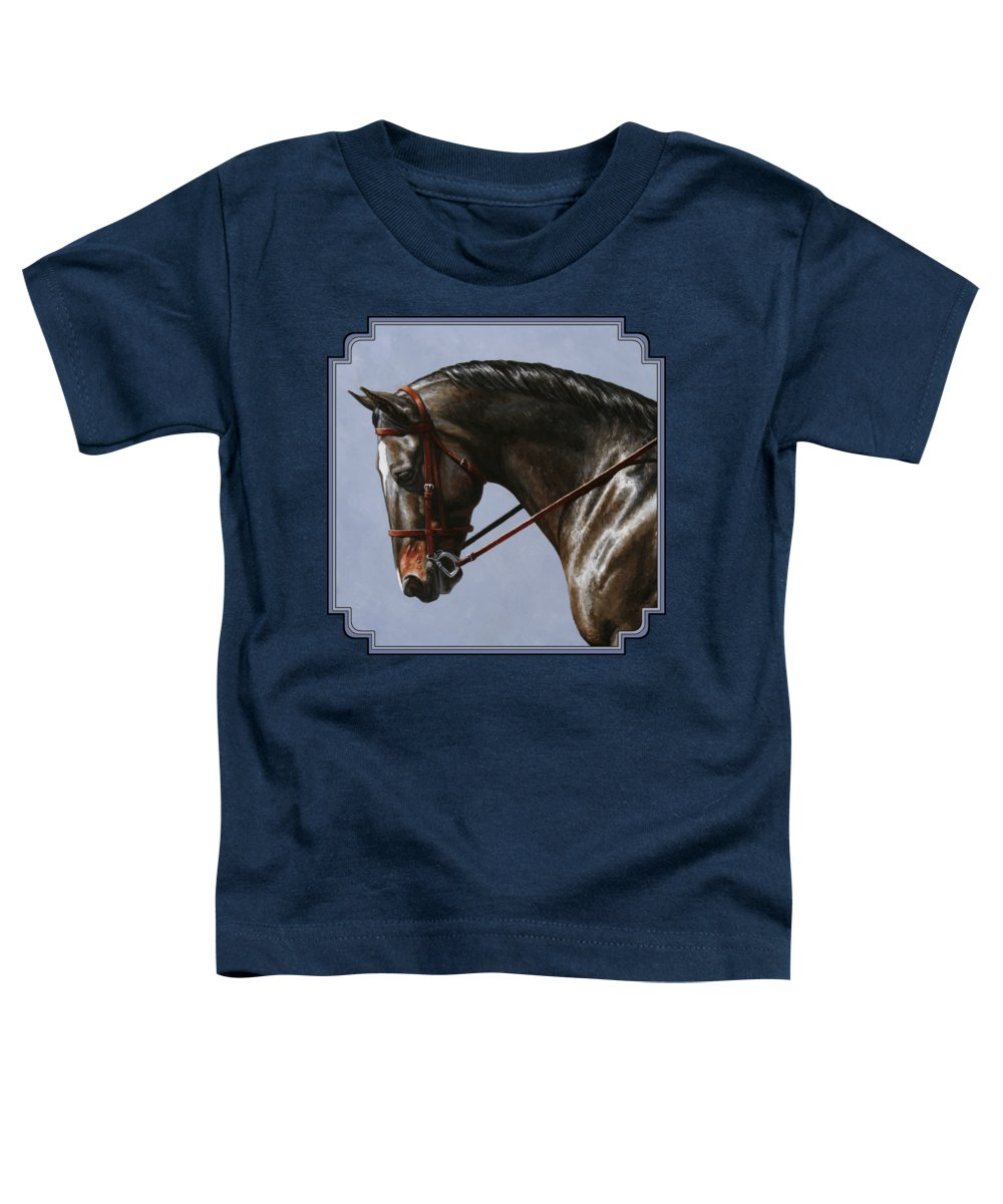 Horse Toddler T-Shirt featuring the painting Horse Painting - Discipline by Crista Forest