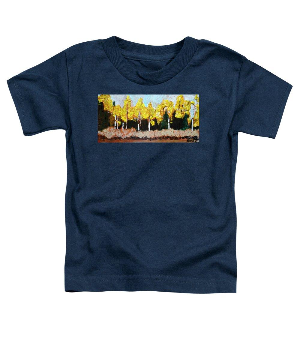 Fall Toddler T-Shirt featuring the painting Aspens by Kurt Hausmann