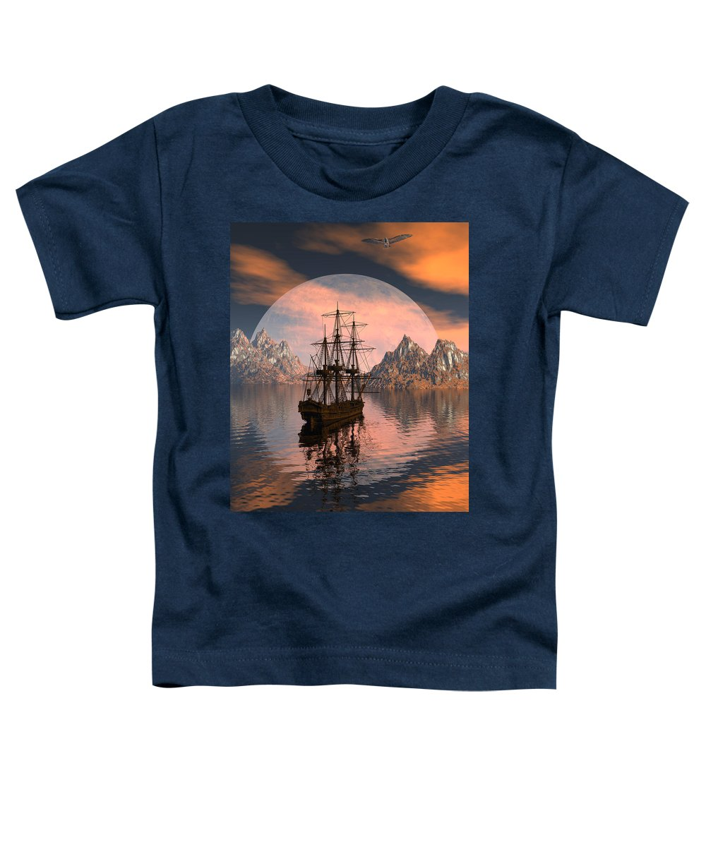 Bryce 3d Digital Fantasy Scifi Windjammer Sailing Toddler T-Shirt featuring the digital art At Anchor by Claude McCoy