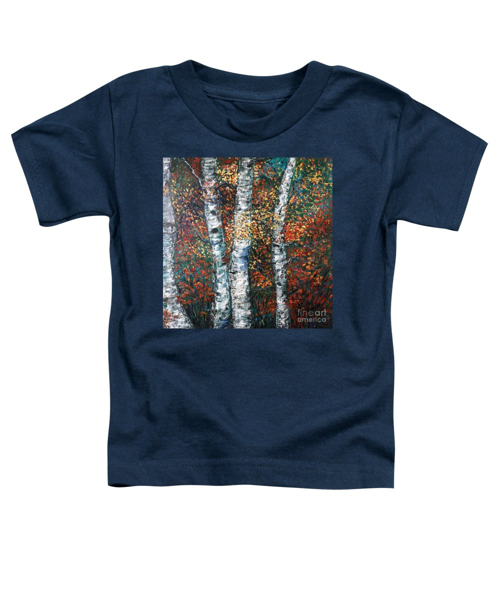 Birch Toddler T-Shirt featuring the painting Autumn Birch by Nadine Rippelmeyer