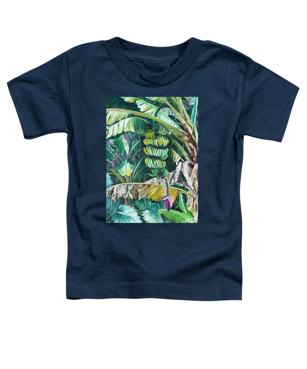 Caribbean Painting Bananas Trees P Painting Fruit Painting Tropical Painting Toddler T-Shirt featuring the painting Bananas by Karin Dawn Kelshall- Best