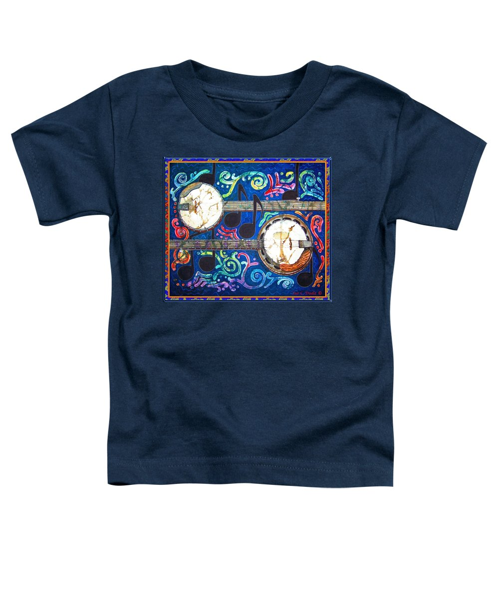 Banjo Toddler T-Shirt featuring the painting Banjos - Bordered by Sue Duda