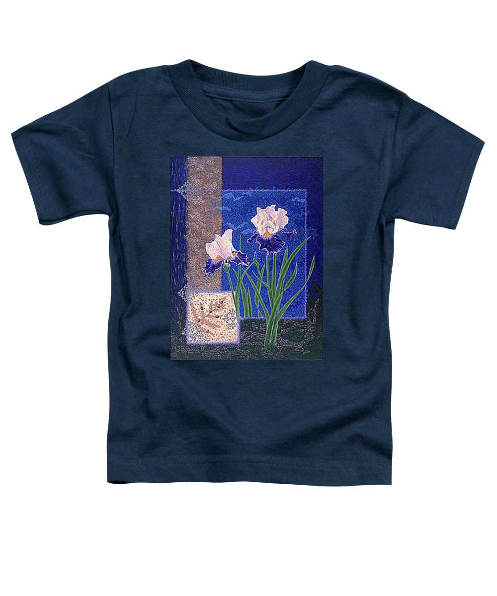Irises Toddler T-Shirt featuring the painting Bearded Irises Fine Art Print Giclee Ladybug Path by Baslee Troutman