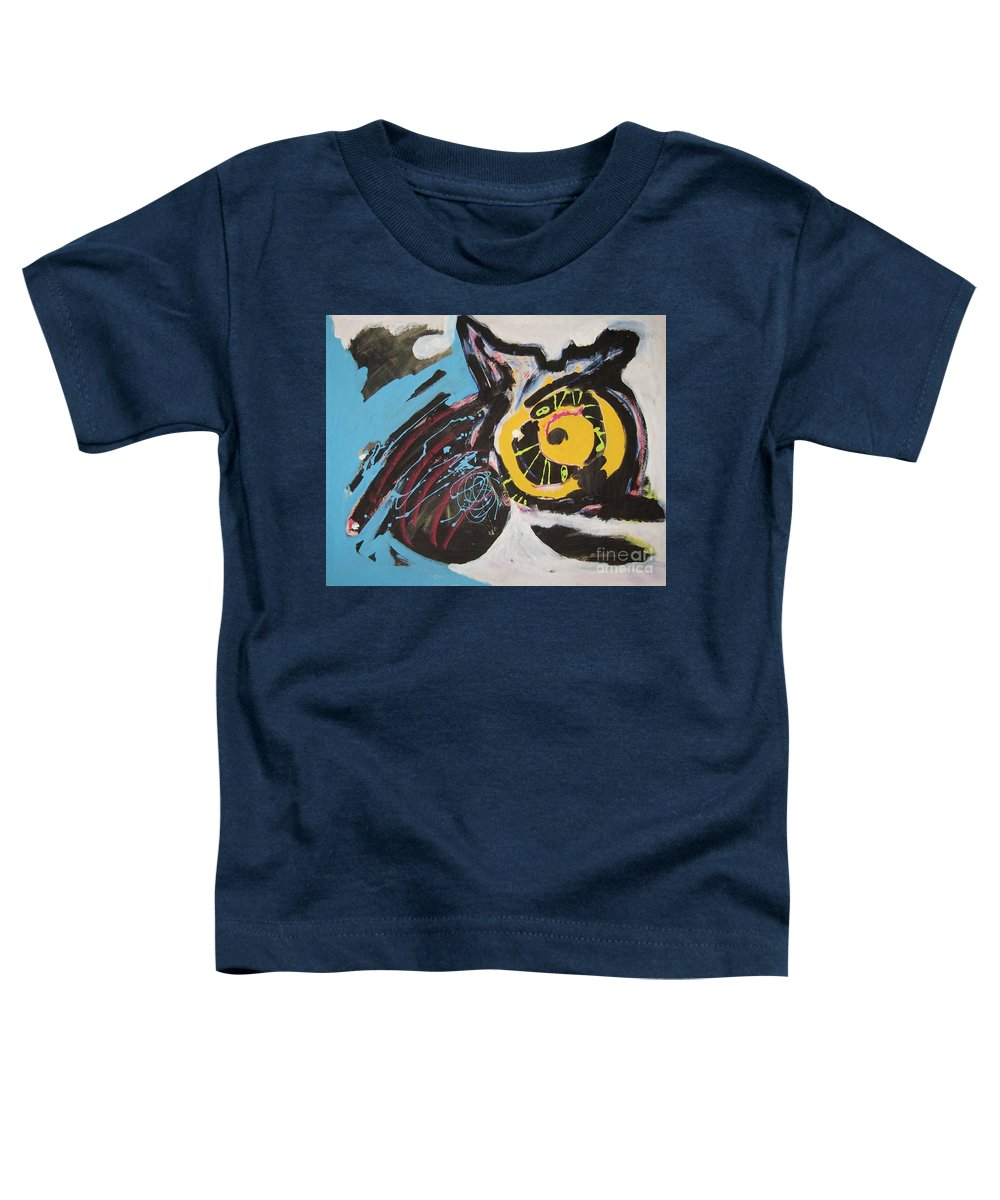 Abstract Cat Paintings Toddler T-Shirt featuring the painting Being Lazy by Seon-Jeong Kim