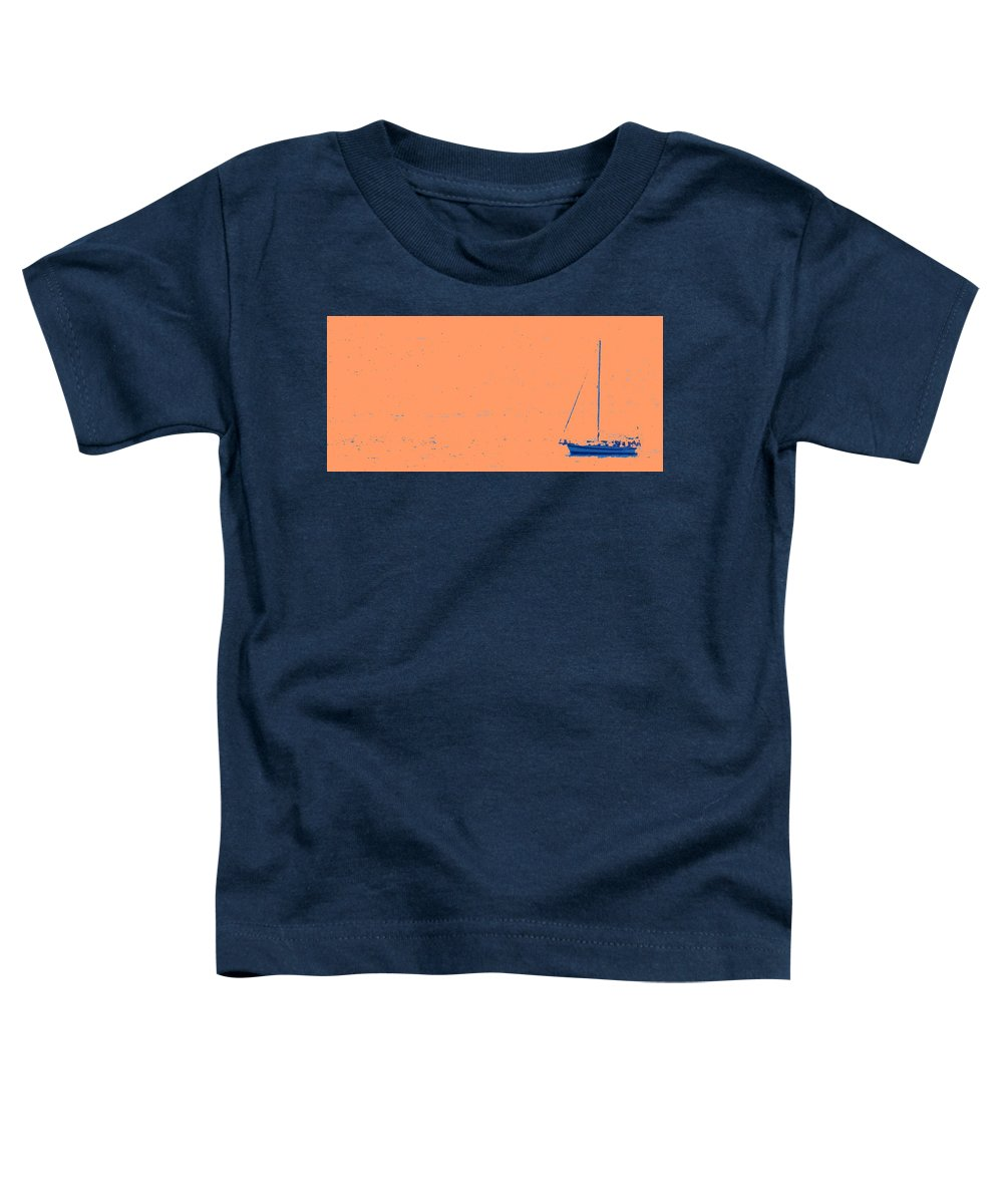 Boat Toddler T-Shirt featuring the photograph Boat On An Orange Sea by Ian MacDonald