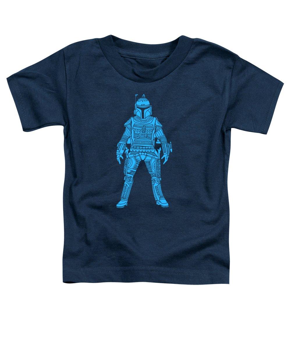 Boba Toddler T-Shirt featuring the mixed media Boba Fett - Star Wars Art, Blue by Studio Grafiikka