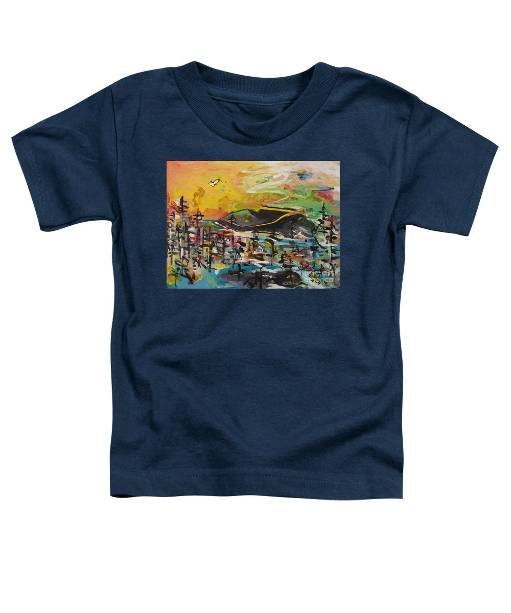 Abstract Paintings Toddler T-Shirt featuring the painting Bummer Flat2 by Seon-Jeong Kim