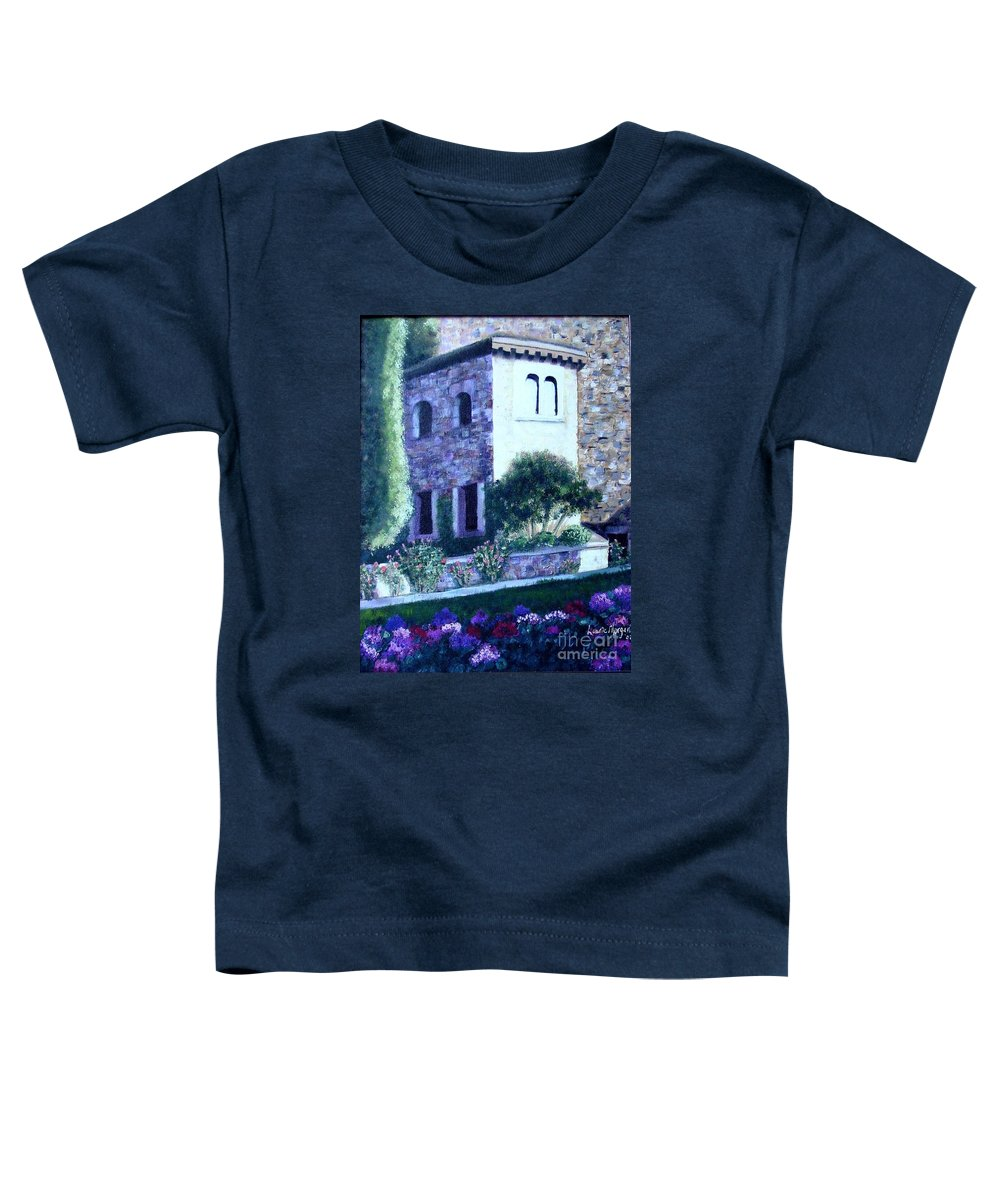 Italy Toddler T-Shirt featuring the painting Castle Sestri Levante by Laurie Morgan