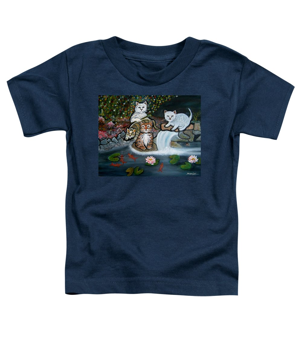 Acrylic Art Landscape Cats Animals Figurative Waterfall Fish Trees Toddler T-Shirt featuring the painting Cats In The Wild by Manjiri Kanvinde