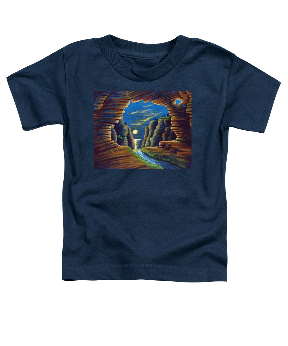 Cave Toddler T-Shirt featuring the painting Cave With Cliffs by Jennifer McDuffie