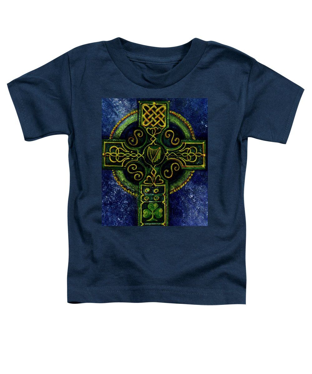 Elle Fagan Toddler T-Shirt featuring the painting Celtic Cross - Harp by Elle Smith Fagan