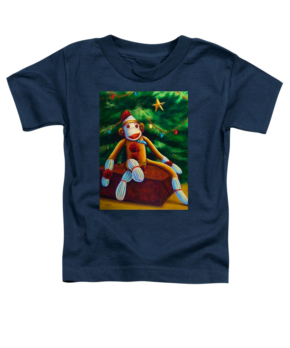 Sock Monkey Toddler T-Shirt featuring the painting Christmas Made Of Sockies by Shannon Grissom