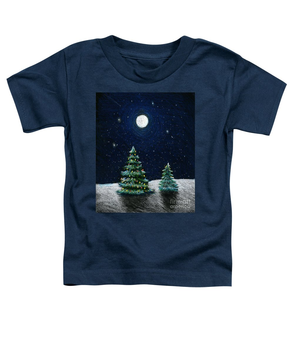 Christmas Trees Toddler T-Shirt featuring the drawing Christmas Trees In The Moonlight by Nancy Mueller