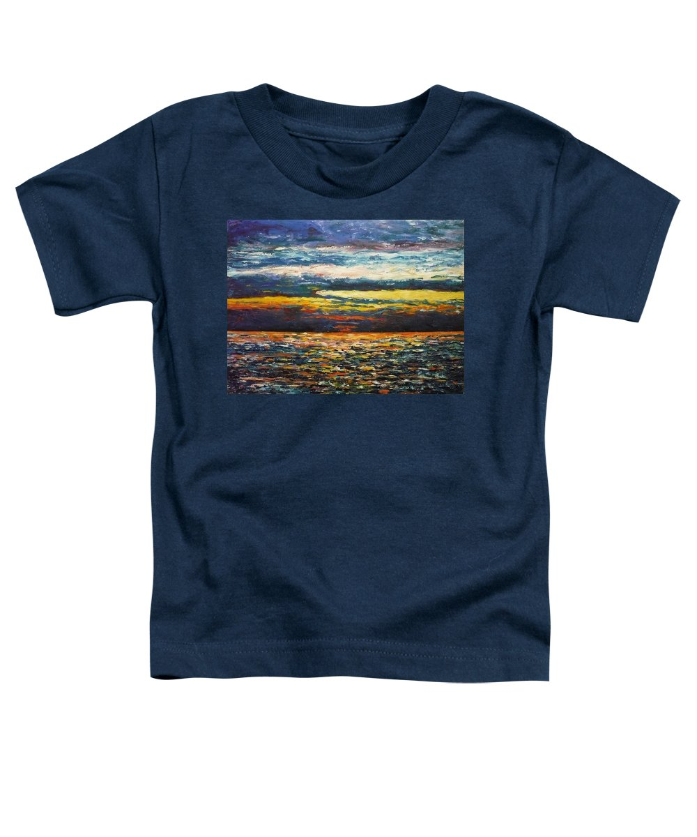 Landscape Toddler T-Shirt featuring the painting Cold Sunset by Ericka Herazo