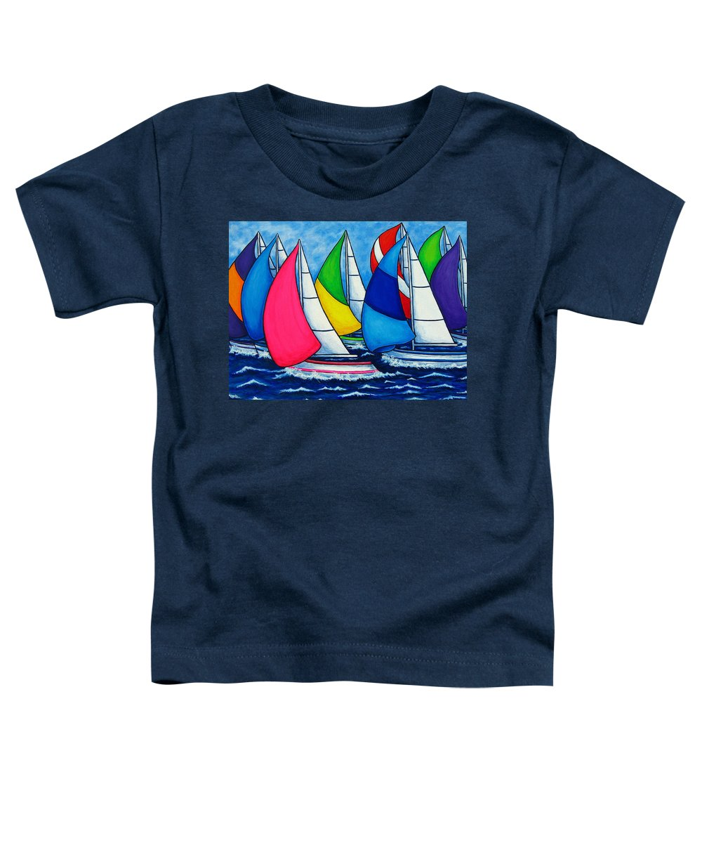 Boats Toddler T-Shirt featuring the painting Colourful Regatta by Lisa Lorenz
