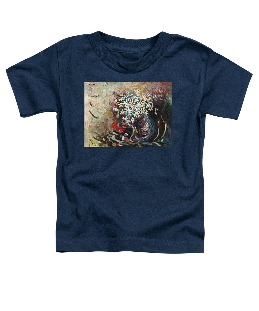 Daisy Paintings Toddler T-Shirt featuring the painting Daisy In Vase3 by Seon-Jeong Kim