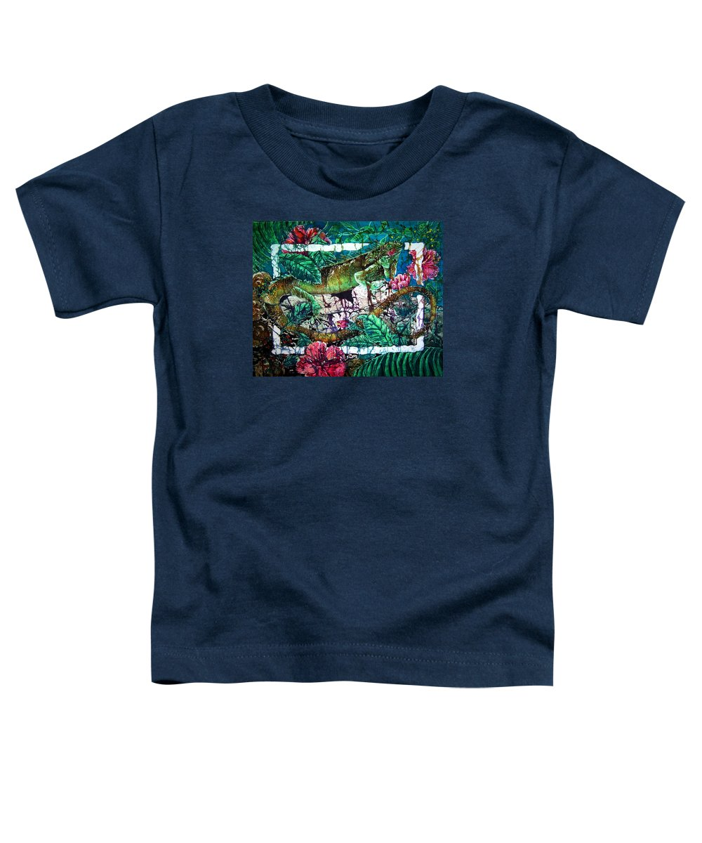 Iguana Toddler T-Shirt featuring the painting Dining At The Hibiscus Cafe - Iguana by Sue Duda