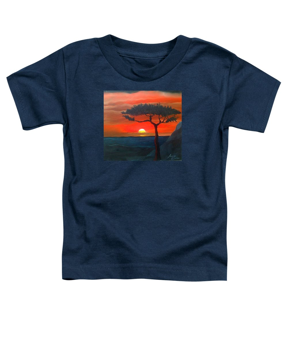Africa! Toddler T-Shirt featuring the painting East African Sunset by Portland Art Creations