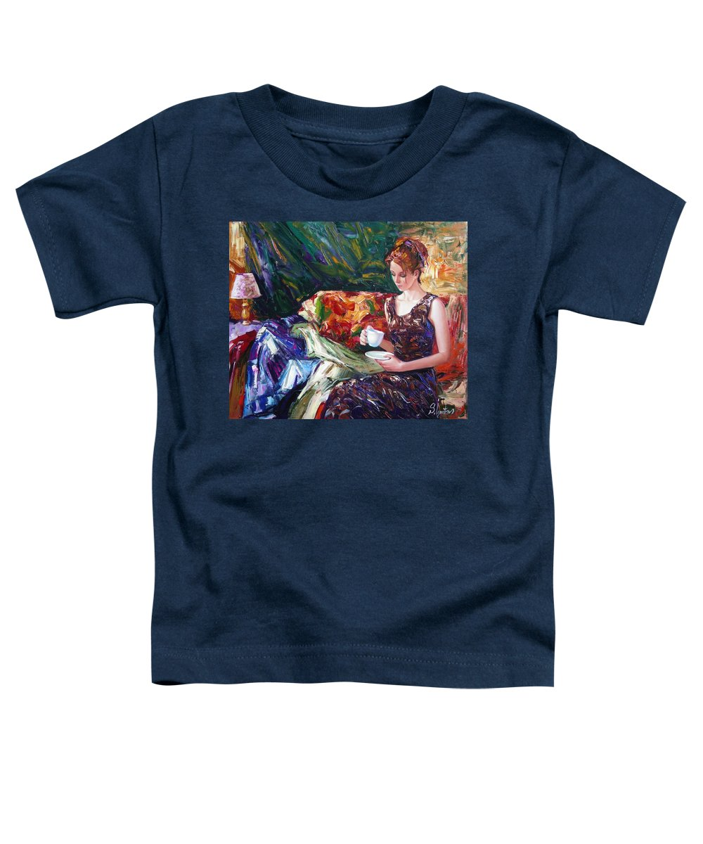 Figurative Toddler T-Shirt featuring the painting Evening Coffee by Sergey Ignatenko