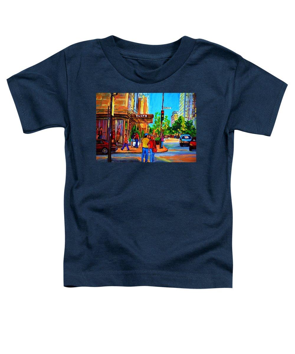 Holt Renfrew Toddler T-Shirt featuring the painting Fashionable Holt Renfrew by Carole Spandau