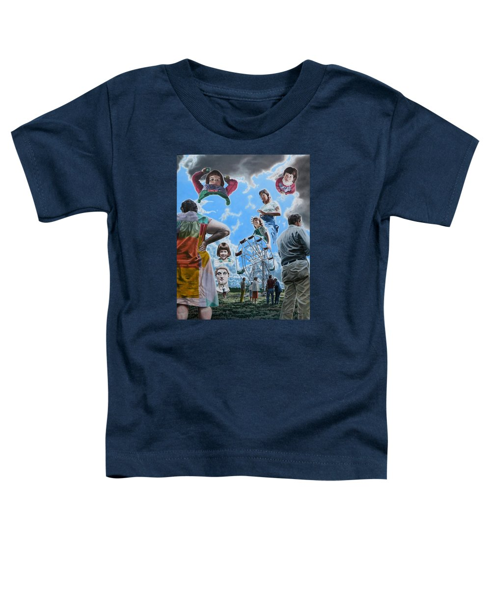 Woman Toddler T-Shirt featuring the painting Ferris Wheel by Dave Martsolf
