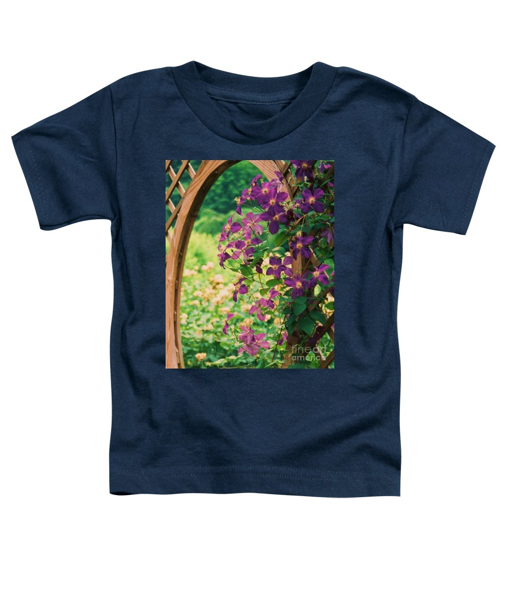 Floral Toddler T-Shirt featuring the painting Flowers On Vine by Eric Schiabor
