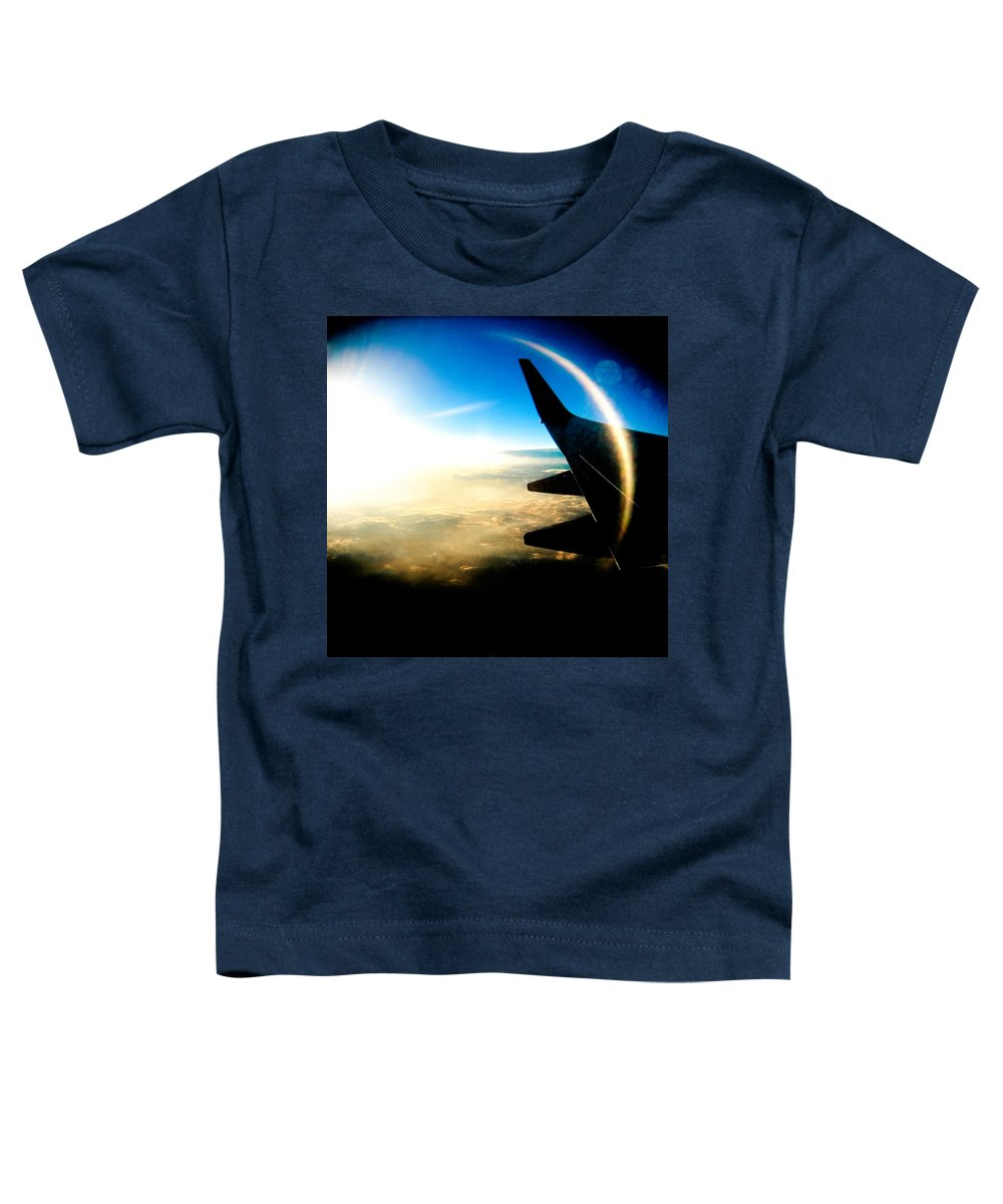 Plane Sky Sun Holga Color Photograph Toddler T-Shirt featuring the photograph Fly Like A Dolphin by Olivier De Rycke