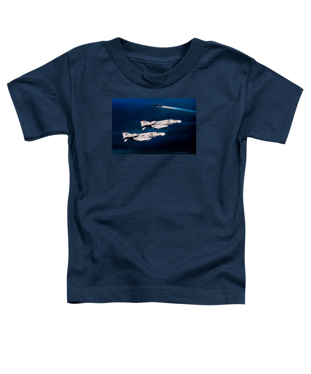 Military Toddler T-Shirt featuring the painting Forrestal S Phantoms by Marc Stewart