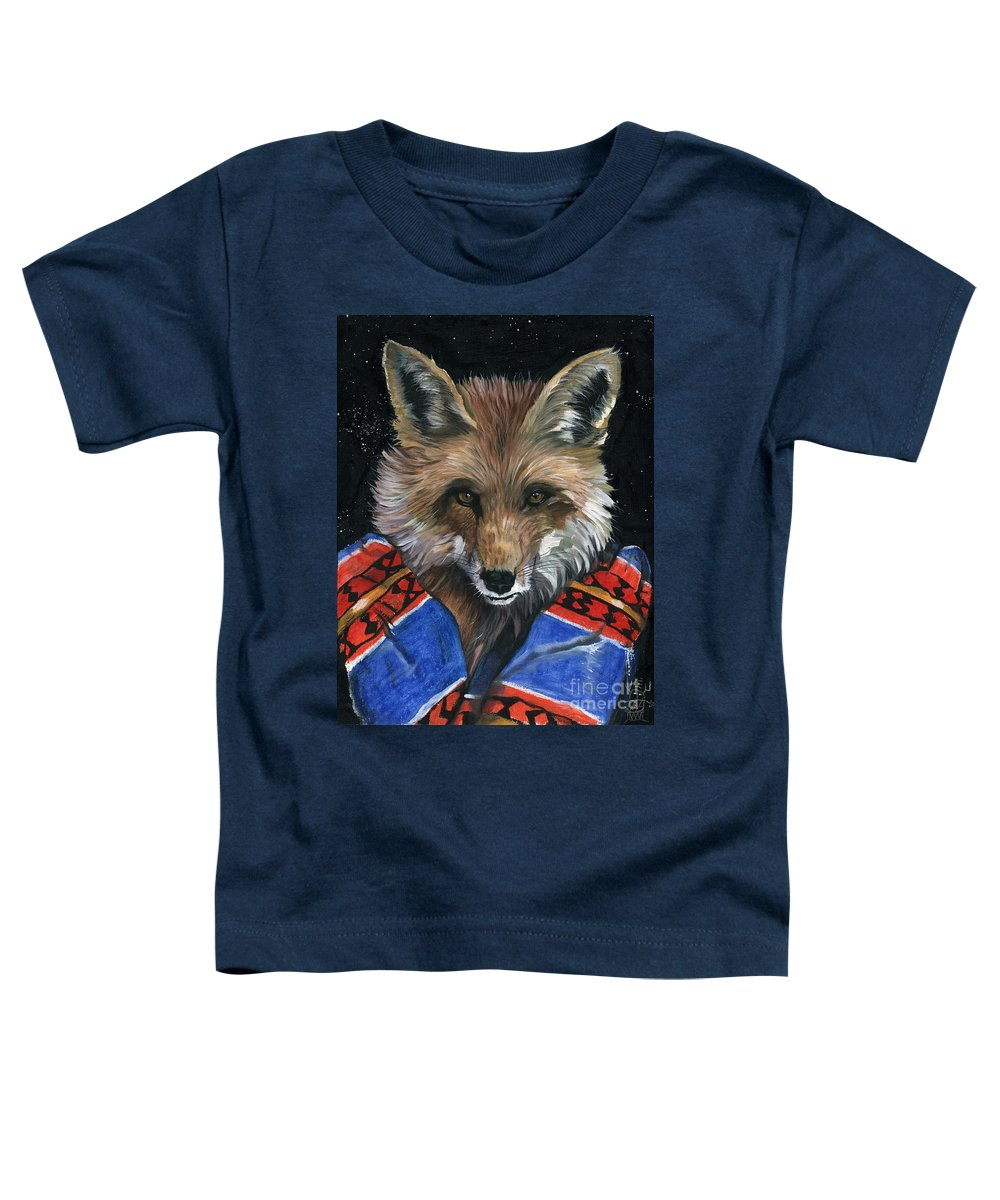 Fox Toddler T-Shirt featuring the painting Fox Medicine by J W Baker