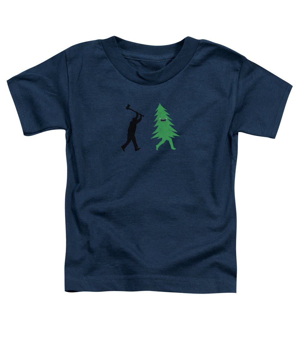 Cute Toddler T-Shirt featuring the digital art Funny Cartoon Christmas Tree Is Chased By Lumberjack Run Forrest Run by Philipp Rietz