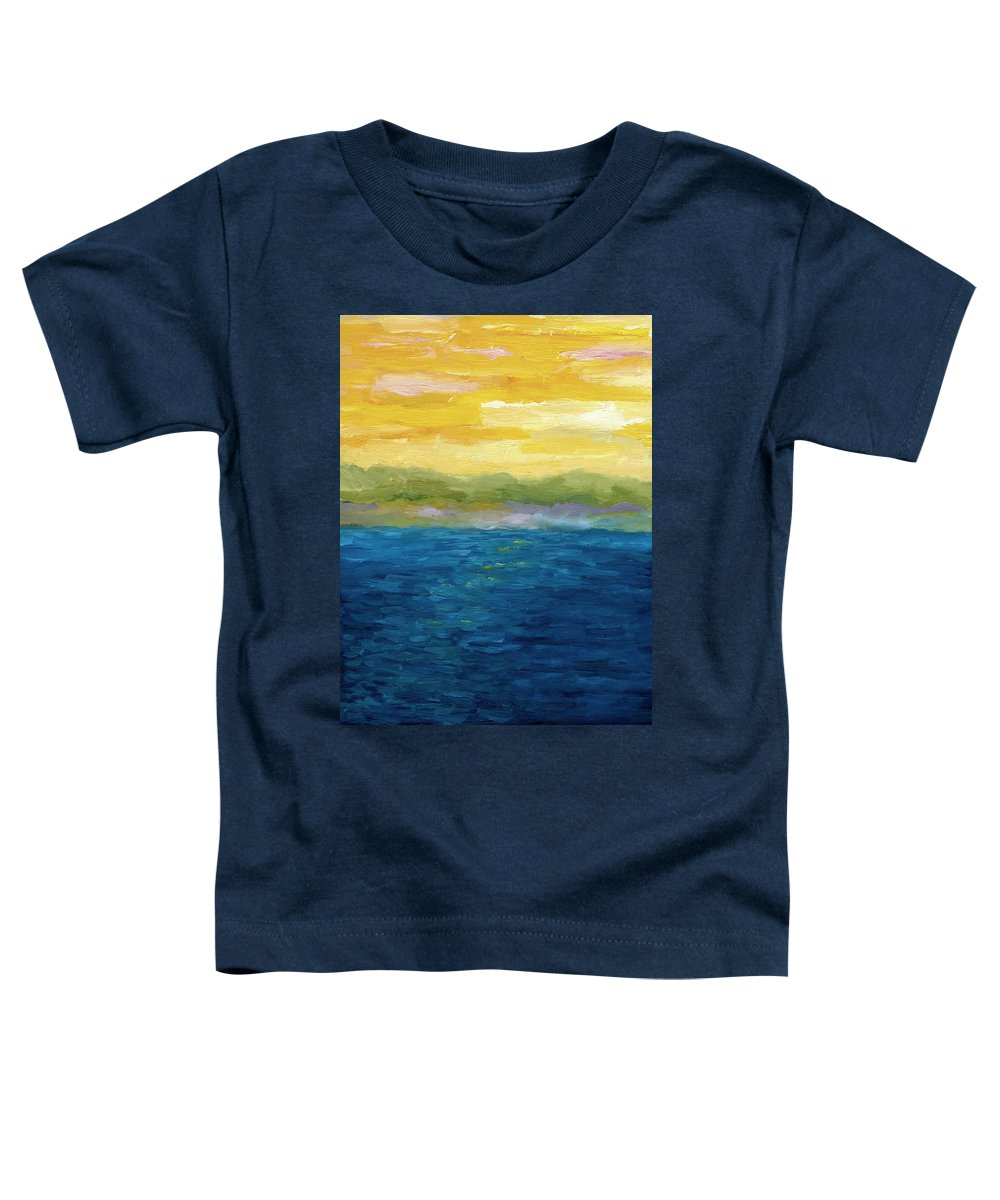 Lake Toddler T-Shirt featuring the painting Gold And Pink Sunset by Michelle Calkins