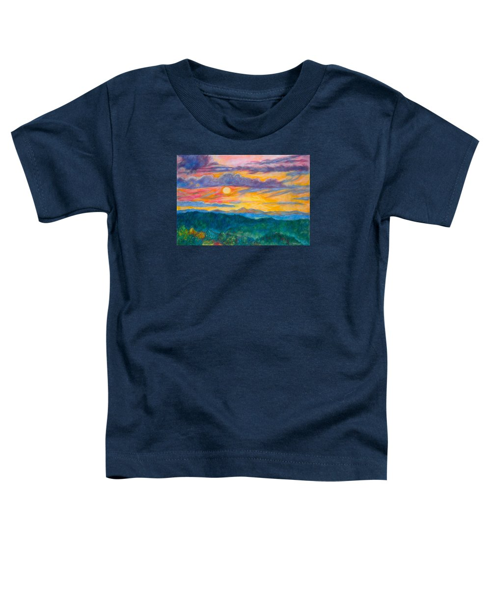 Landscape Toddler T-Shirt featuring the painting Golden Blue Ridge Sunset by Kendall Kessler