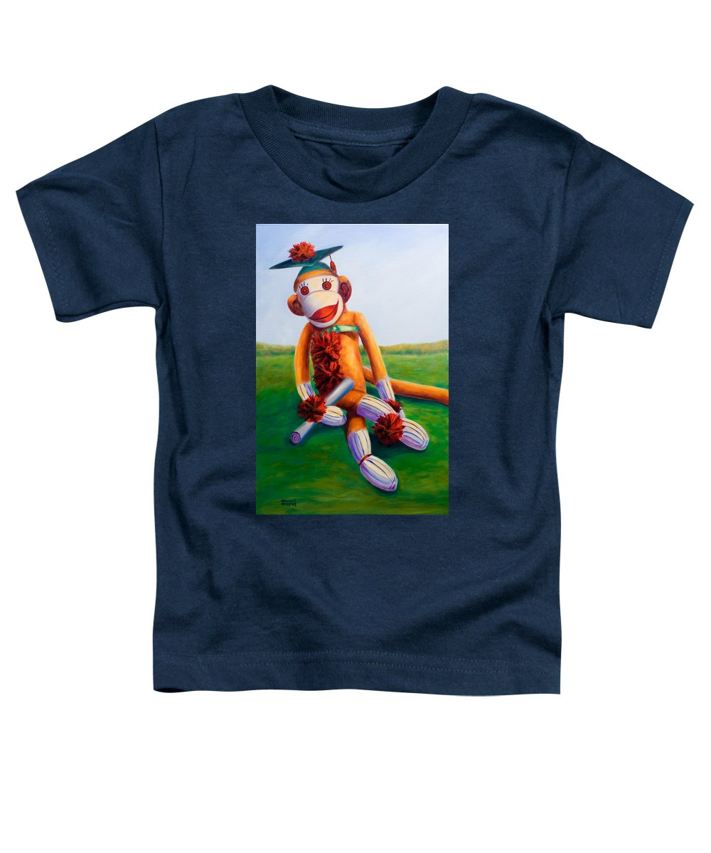 Graduation Toddler T-Shirt featuring the painting Graduate Made Of Sockies by Shannon Grissom