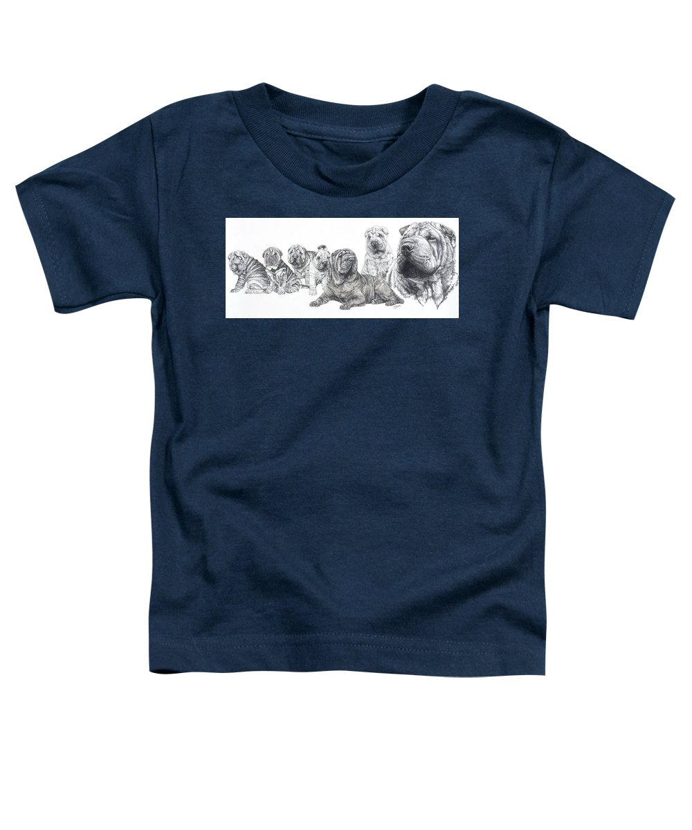Non-sporting Group Toddler T-Shirt featuring the drawing Growing Up Chinese Shar-pei by Barbara Keith