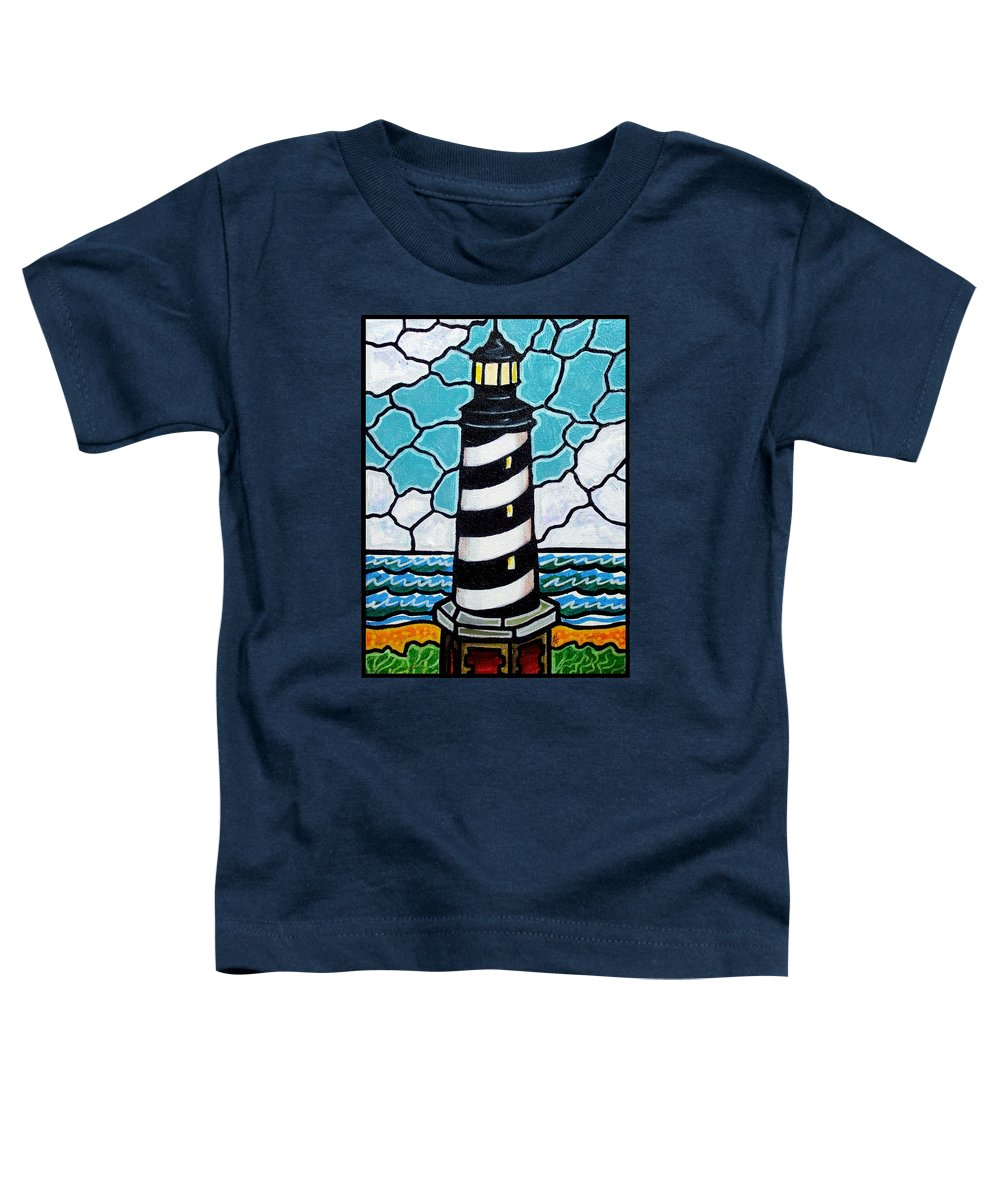 Lighthouse Toddler T-Shirt featuring the painting Hatteras Island Lighthouse by Jim Harris