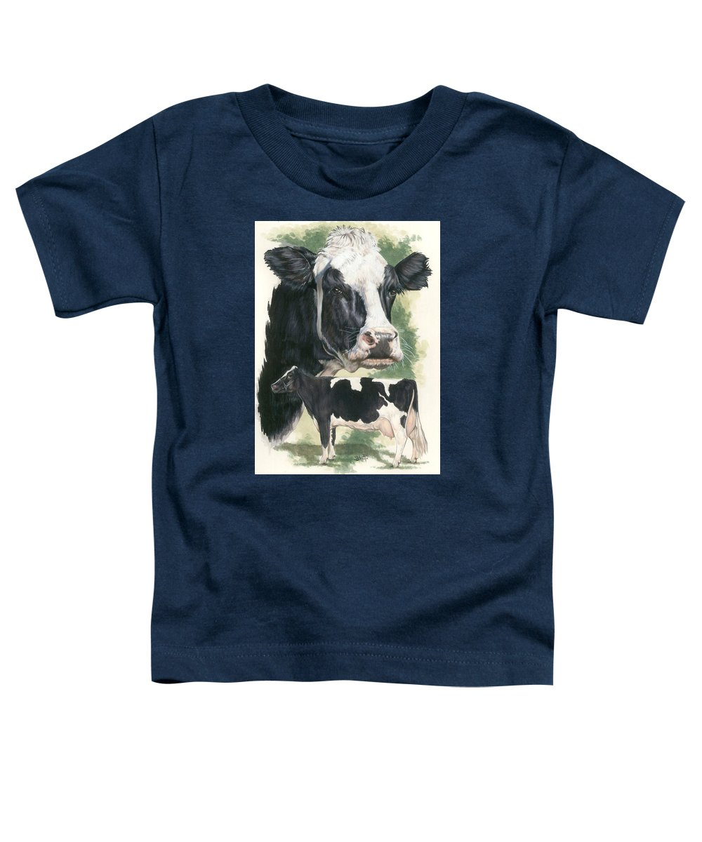 Cow Toddler T-Shirt featuring the mixed media Holstein by Barbara Keith