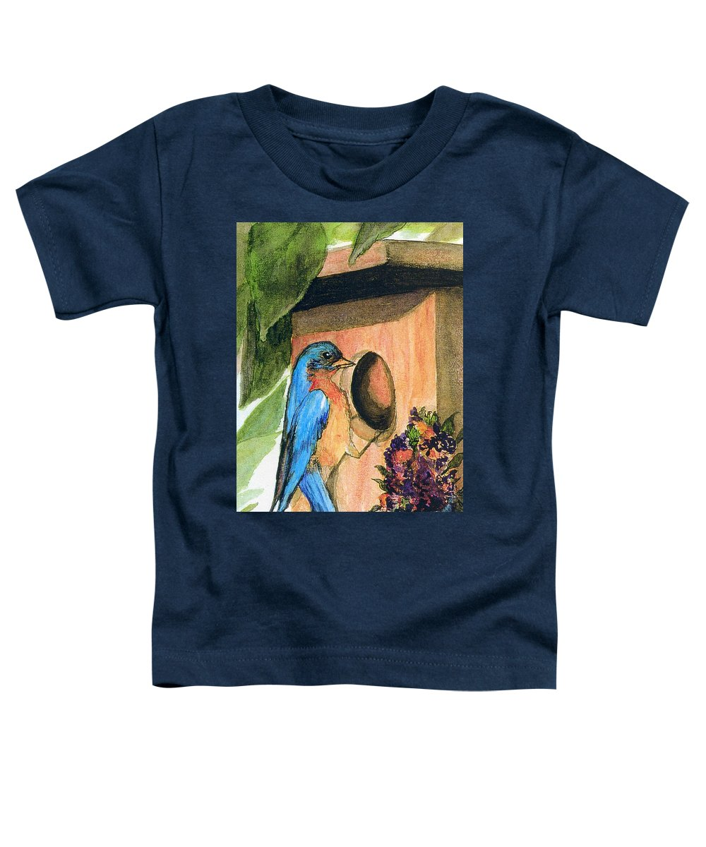 Bluebirds Toddler T-Shirt featuring the painting Home Sweet Home by Gail Kirtz