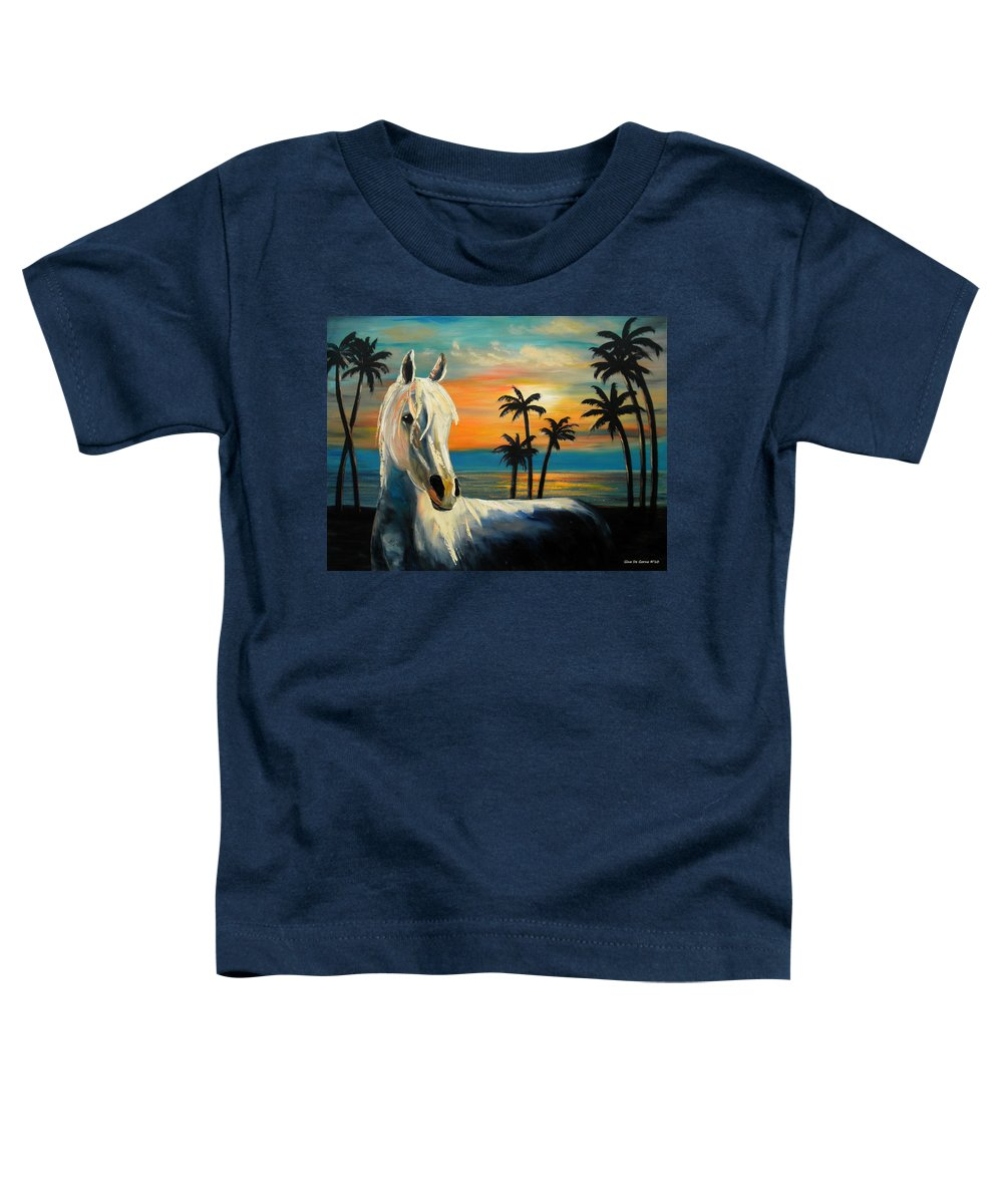 Horse Toddler T-Shirt featuring the painting Horses In Paradise Tell Me Your Dream by Gina De Gorna