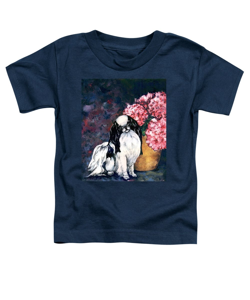 Japanese Chin Toddler T-Shirt featuring the painting Japanese Chin And Hydrangeas by Kathleen Sepulveda