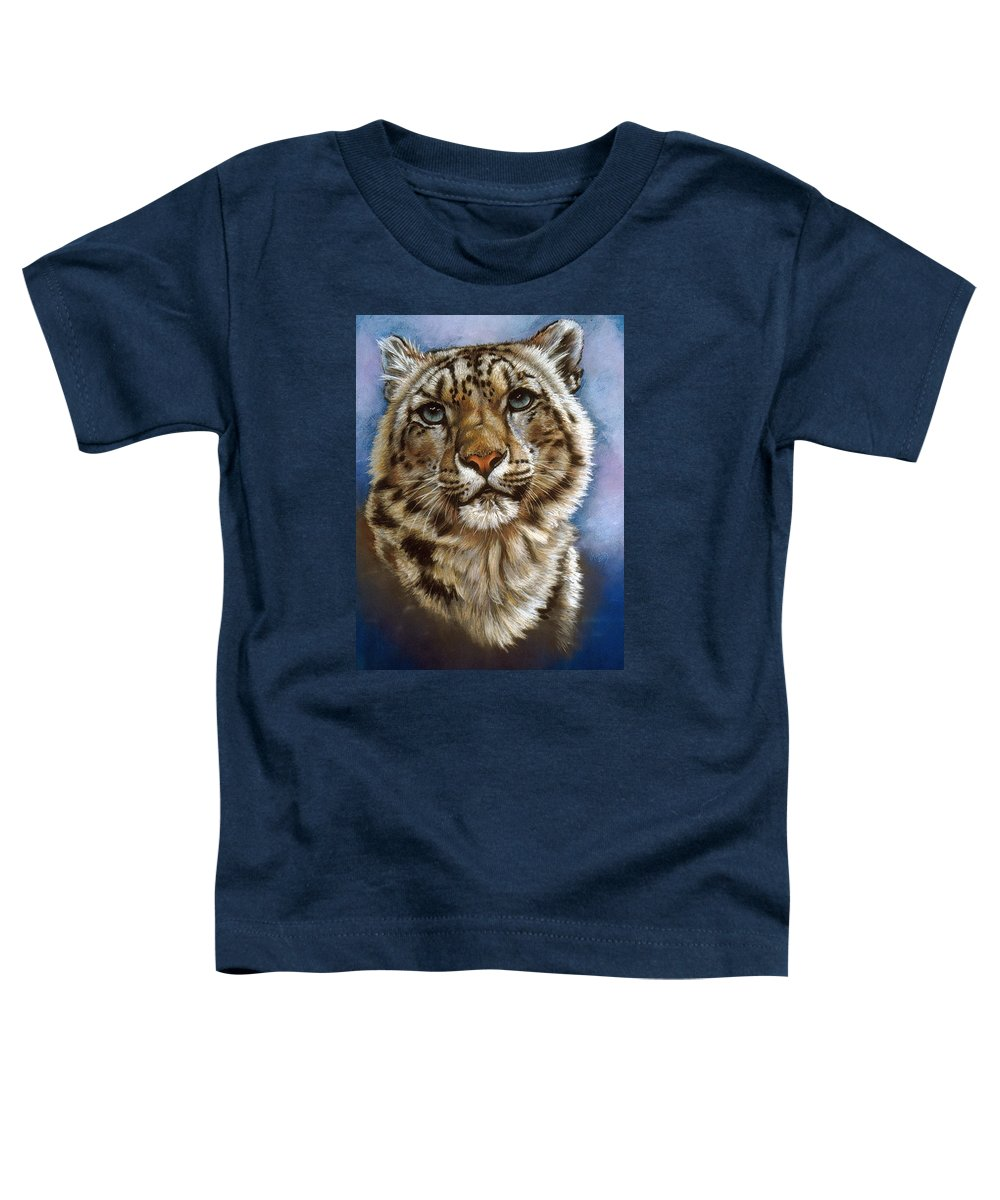 Snow Leopard Toddler T-Shirt featuring the pastel Jewel by Barbara Keith