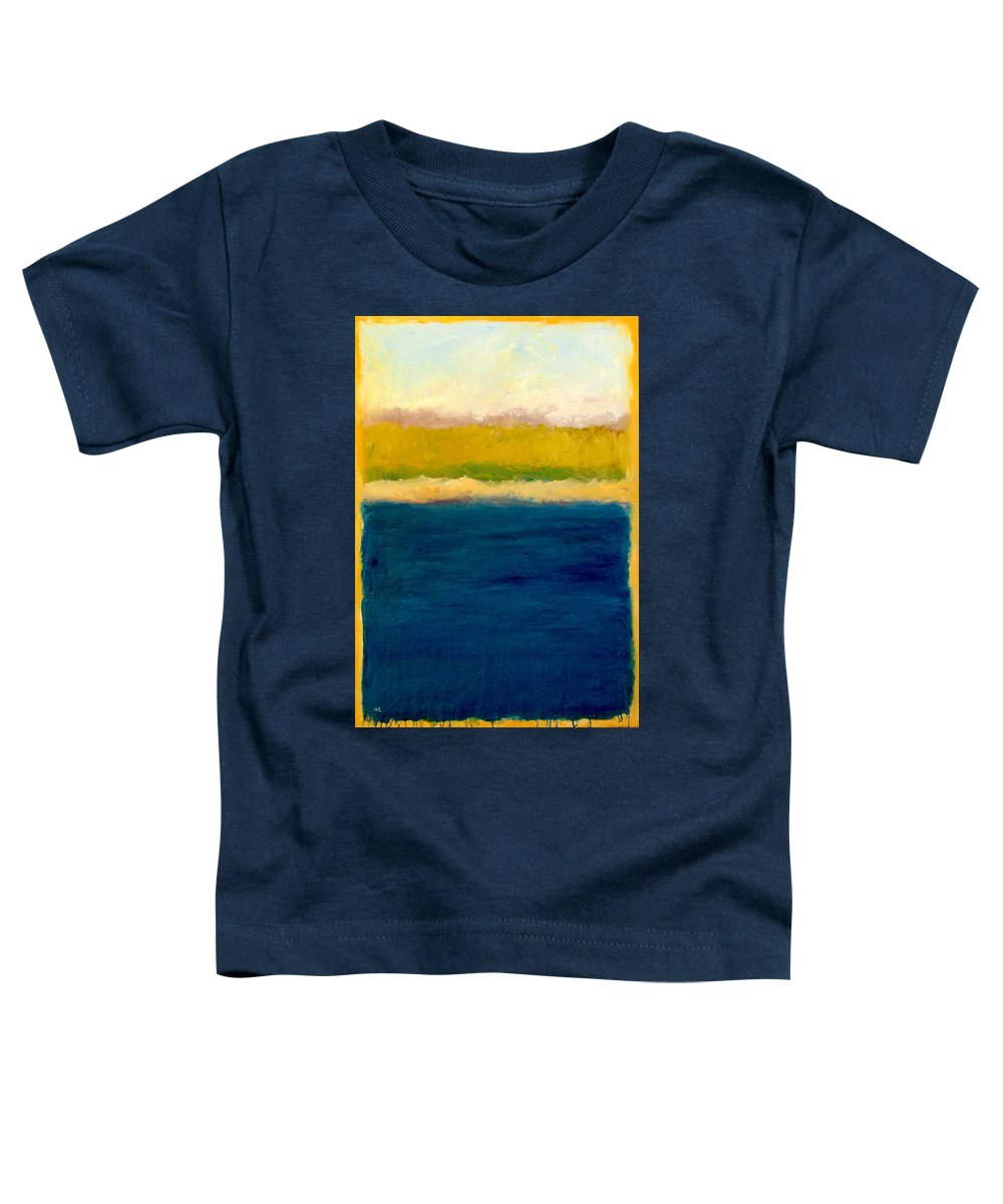 Dunes Toddler T-Shirt featuring the painting Lake Michigan Beach Abstracted by Michelle Calkins