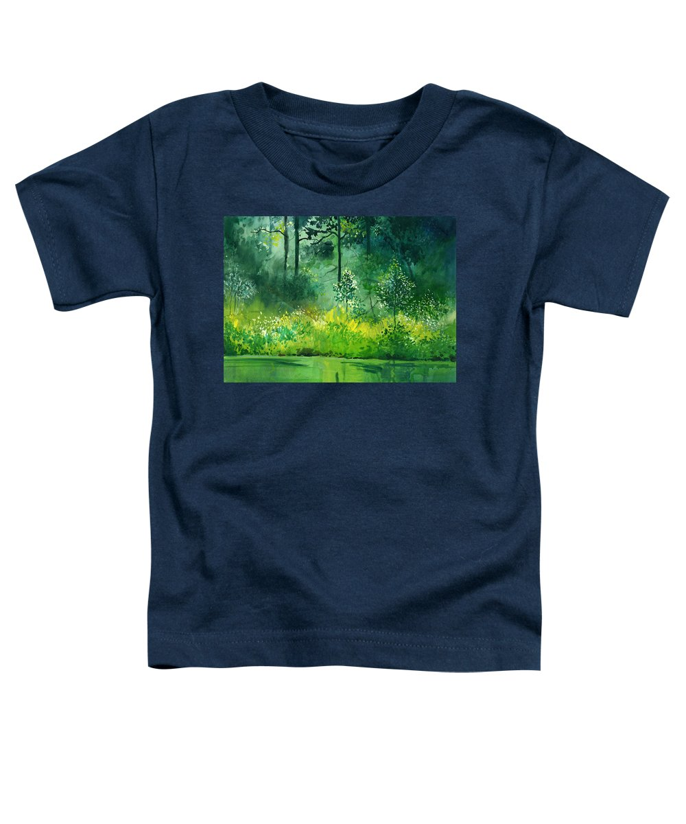 Water Toddler T-Shirt featuring the painting Light N Greens by Anil Nene
