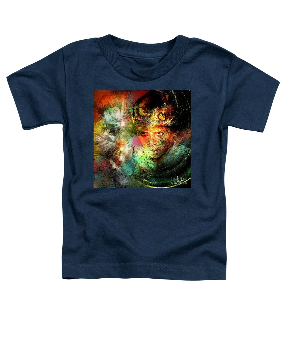 Portrait Toddler T-Shirt featuring the painting Love For The Boy King by Miki De Goodaboom